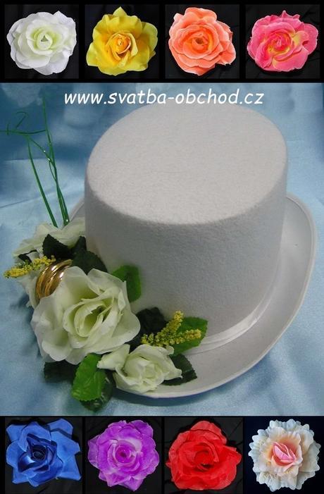 Bílý cylindr s bílou kytičkou z růží (č.03),