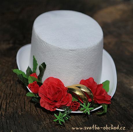 Bílý cylindr s červenými růžemi (č.03),