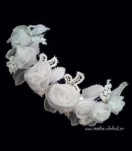 Čelenka bílá - kytičky (č. 03),
