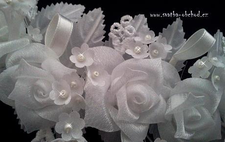 Čelenka bílá - kytičky (č. 05),
