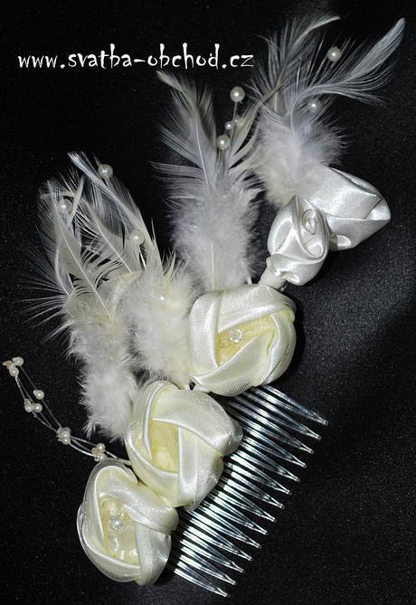 Čelenka bílá - kytičky (č. 09),