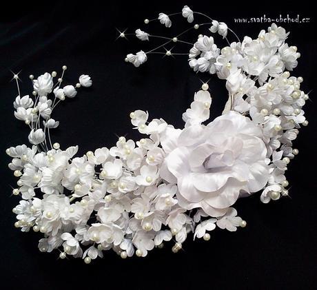 Čelenka bílá - kytičky (č. 10),