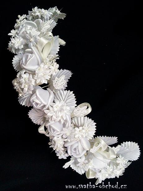 Čelenka bílá - kytičky (č. 14),