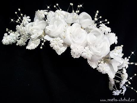 Čelenka bílá - kytičky (č. 17),