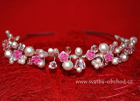 Čelenka - růžové + čiré korálky a kamínky (č. C56),