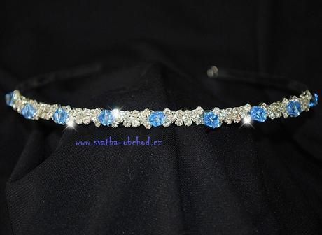 Čelenka štrasová + modré korálky (č.C76),