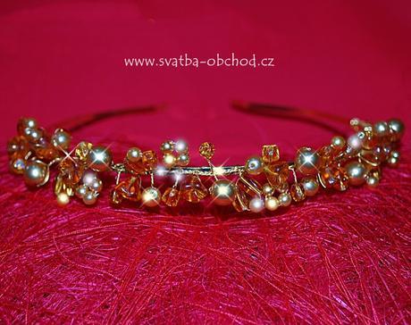 Čelenka - zlaté korálky a kamínky (č. C57),