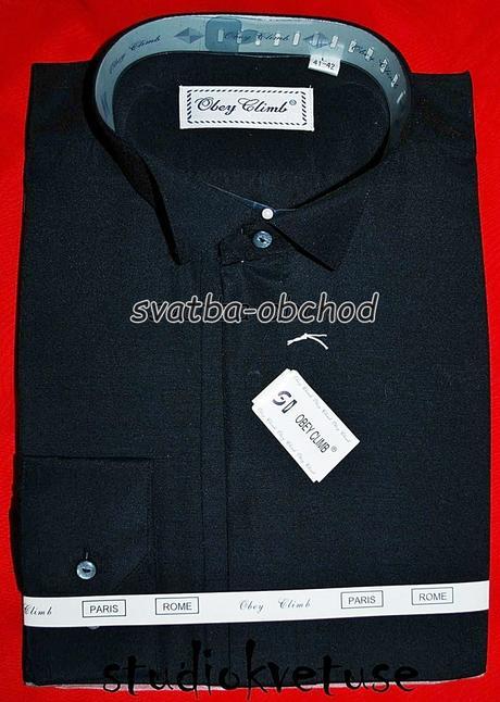 Černá pánská košile - frakovka, 46
