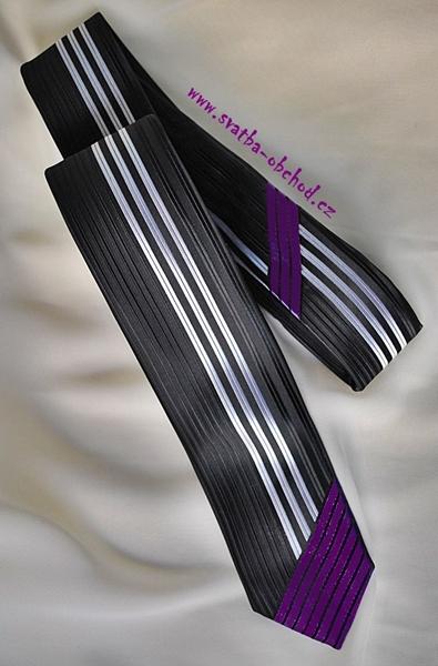 Černo-fialová kravata (č.171),