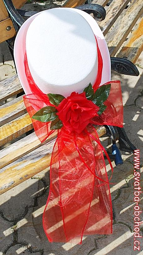 Červená růže a stuha na cylindru (č.06),