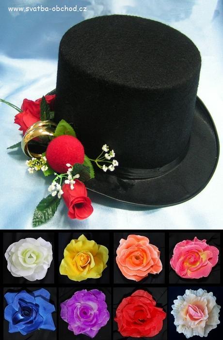 Červené růže na černém cylindru (č.03),