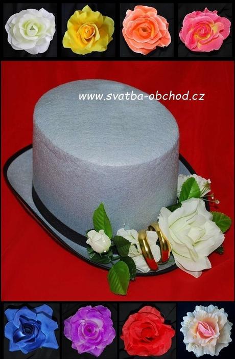 Cylindr filcový šedý s růžemi a prstýnky (č.03),