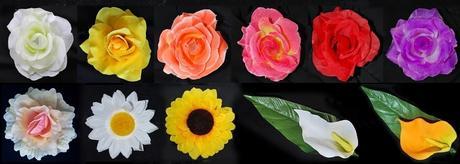 Fialové růže + mašle z organzy (lze i z vliselinu),
