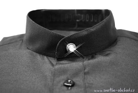 Košile se stojáčkem - černá (č.07), 42