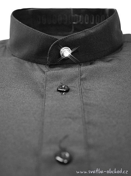 Košile se stojáčkem - černá (č.07), 48