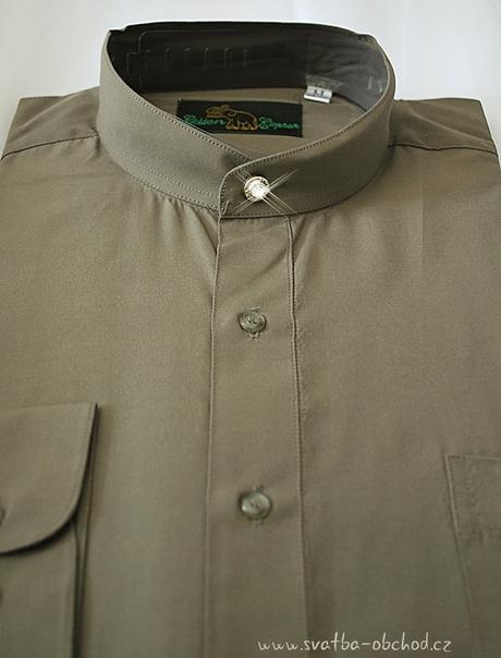 Košile se stojáčkem - olivová (č.06), 40
