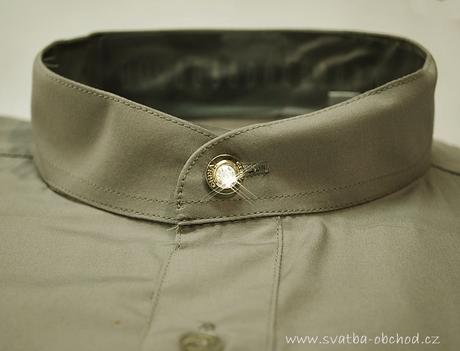 Košile se stojáčkem - olivová (č.06), 48