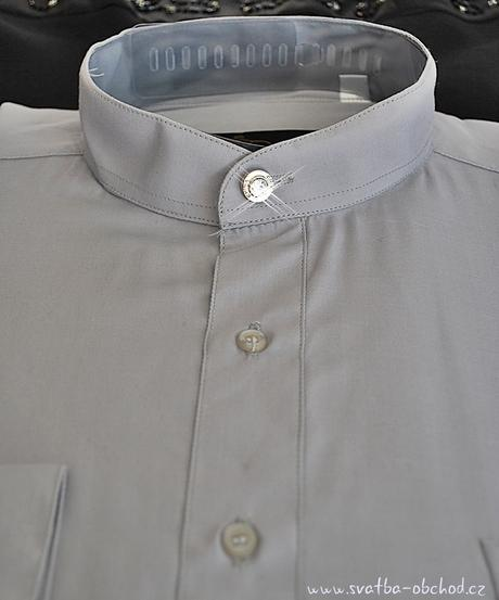 Košile se stojáčkem - stříbrnošedivá (č.05), 42