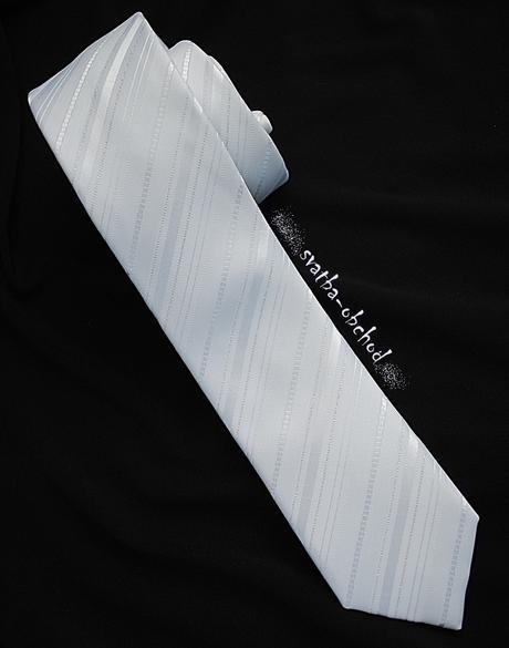 Kravata - bílá s proužkem (č. 108),