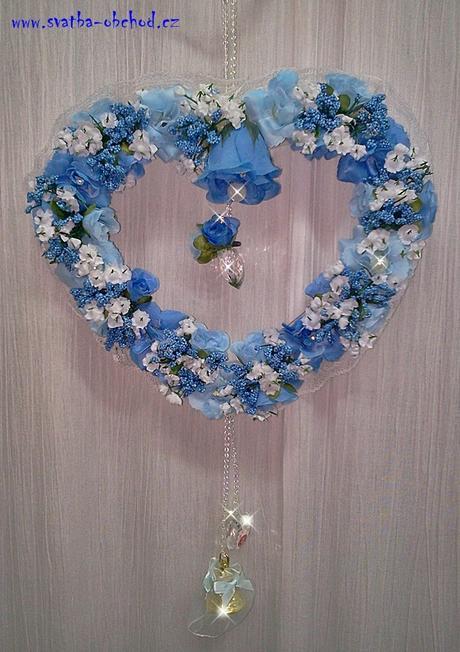 Modrý závěs na dveře - srdce,
