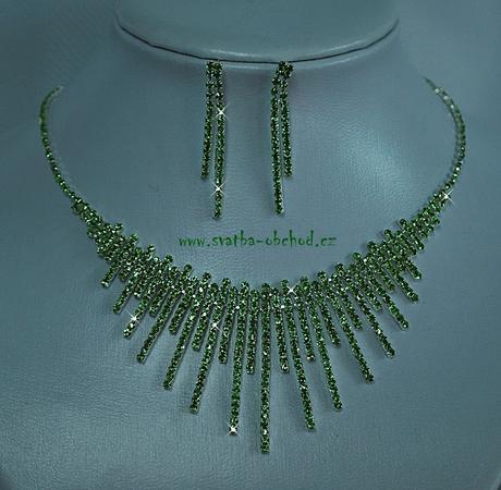 Náhrdelník + náušnice (č. 004) zelený,