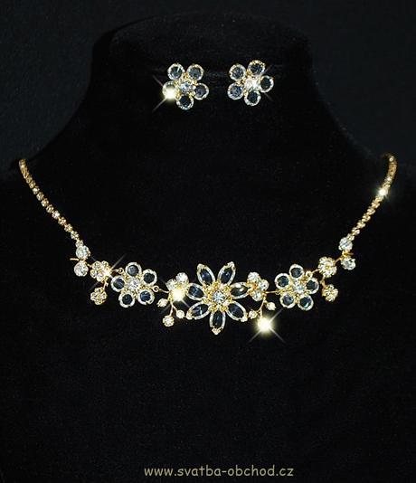 Náhrdelník + náušnice (č. 011) zlatý kov,