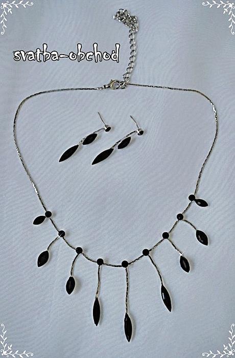 Náhrdelník + náušnice (č. 022) černý,