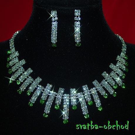 Náhrdelník + náušnice (č. 024) zelený,