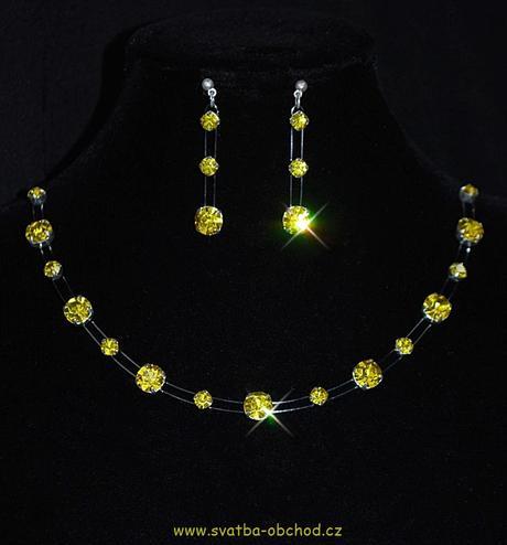Náhrdelník + náušnice (č. 044) žlutý,