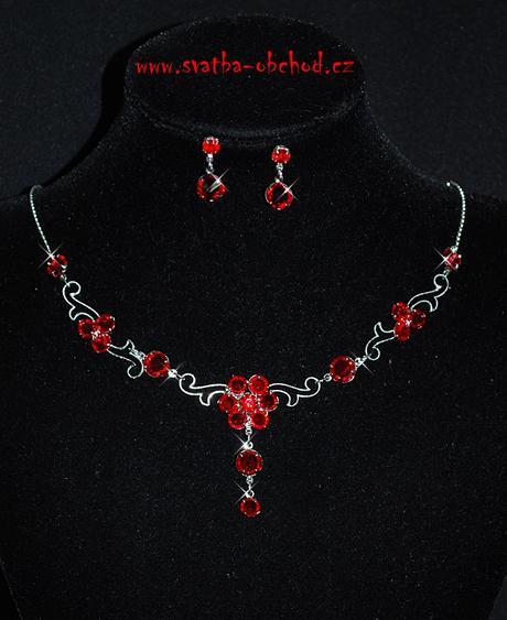 Náhrdelník + náušnice (č. 049) červený,