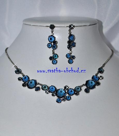 Náhrdelník + náušnice (č. 051) modrý,