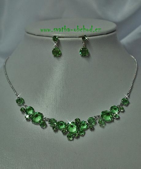 Náhrdelník + náušnice (č. 051) zelený,