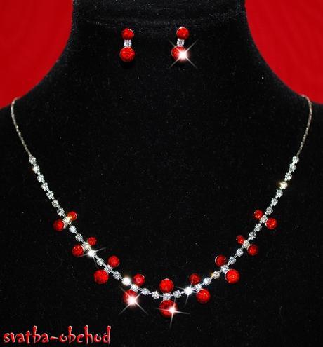 Náhrdelník + náušnice (č. 070) červený,