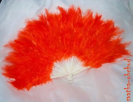 Oranžový péřový vějíř (č. 04),