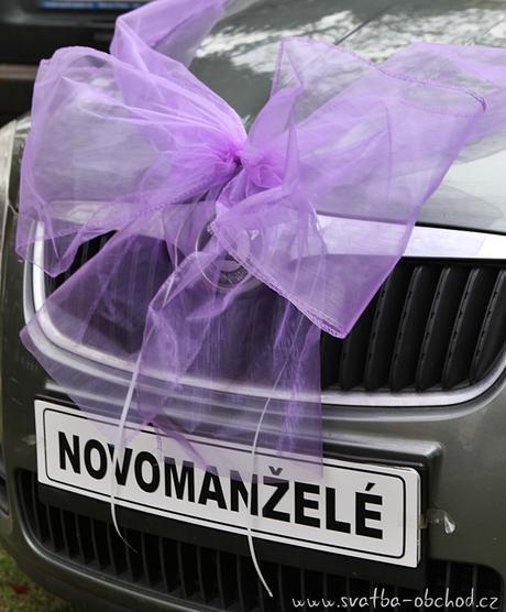 Organzová fialová mašle na auto ,
