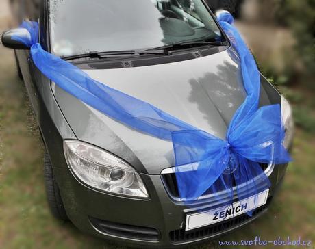 Organzová královsky modrá mašle na auto,