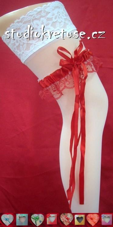 Podvazek v červené barvě, XL
