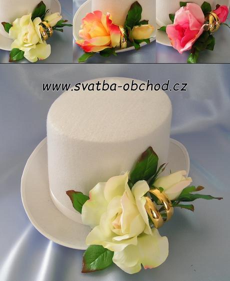 Růžová růže + prstýnky na cylindru (č.04),