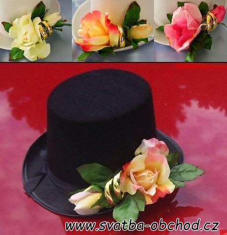 Růžové růže + prstýnky na cylindru (č.04),