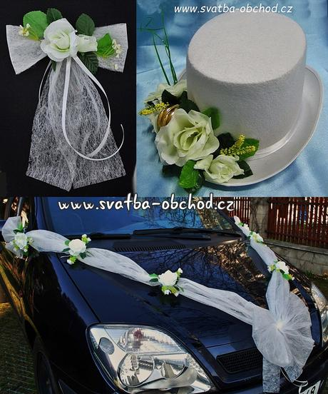 Set na dvě auta - bílé růže (č.09),