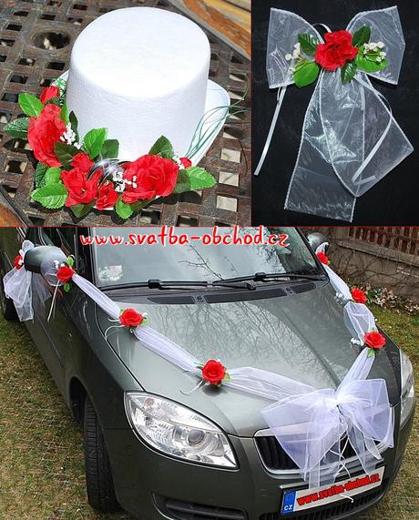 Set na dvě auta - červené růže (č.07) ,
