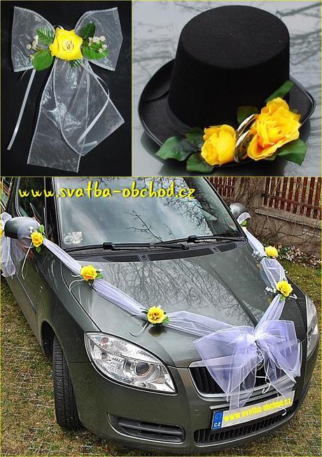Set na dvě auta - žluté růže (č.04),
