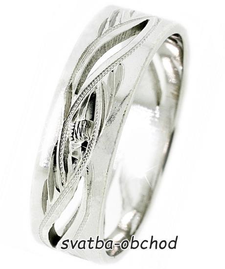 Snubní prsten A10 - bílé zlato,