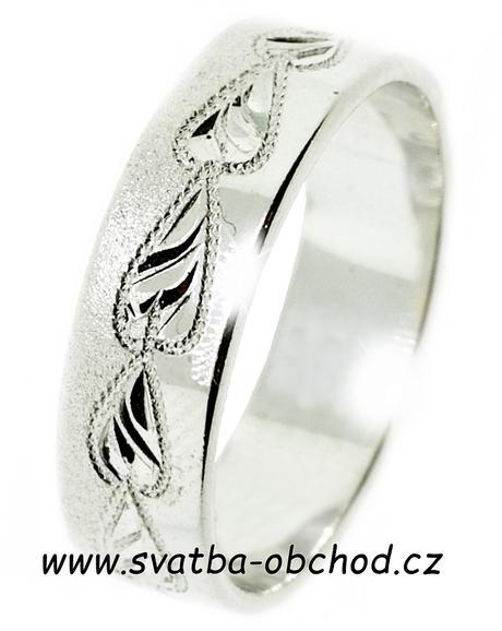 Snubní prsten A23 - bílé zlato,