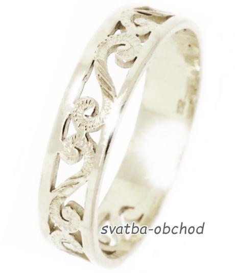 Snubní prsten A5 - bílé zlato,