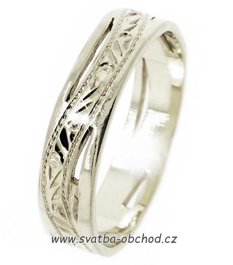 Snubní prsten A6 - bílé zlato,