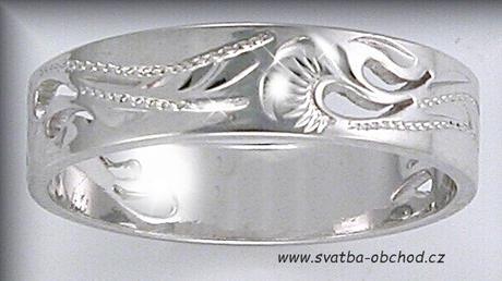 Snubní prsten A8 - bílé zlato,