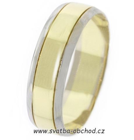 Snubní prsten B19 - zlato žluté-bílé,