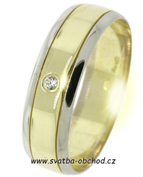 Snubní prsten B19 - zlato žluté-bílé + zirkon,