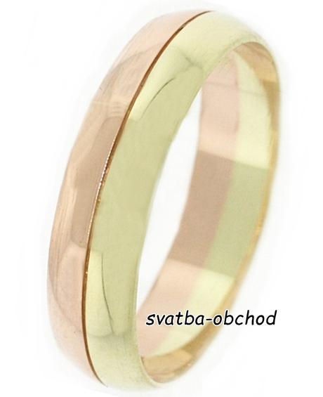 Snubní prsten B33 - zlato žluté-červené,
